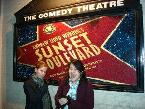 "J & M outside ""Sunset Boulevard"""